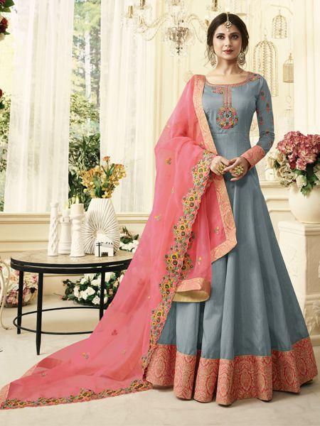 Buy Designer Grey Anarkali Suit Online-YOYO Fashion