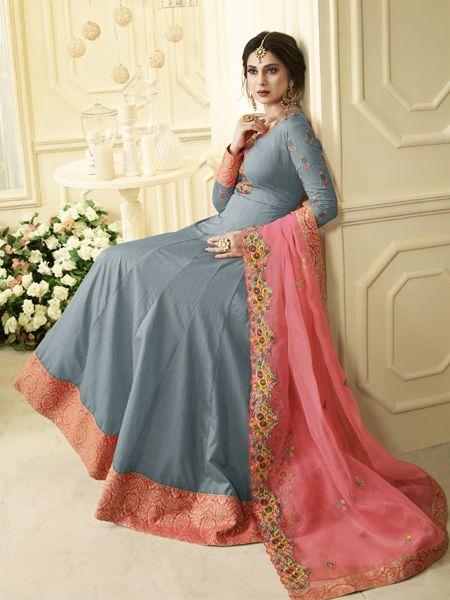 Designer Grey Anarkali Suit