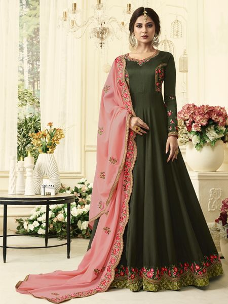 Buy Green Silk Anarkali Gown Online- YOYO Fashion