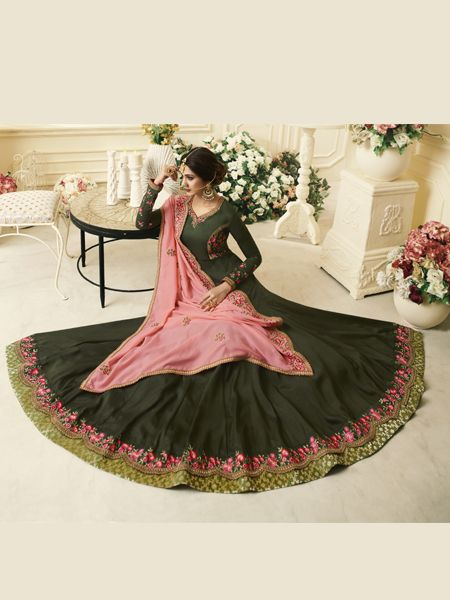 Green Silk Anarkali Gown