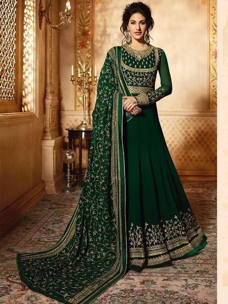Buy Green Long Anarkali Gown Online- YOYO Fashion