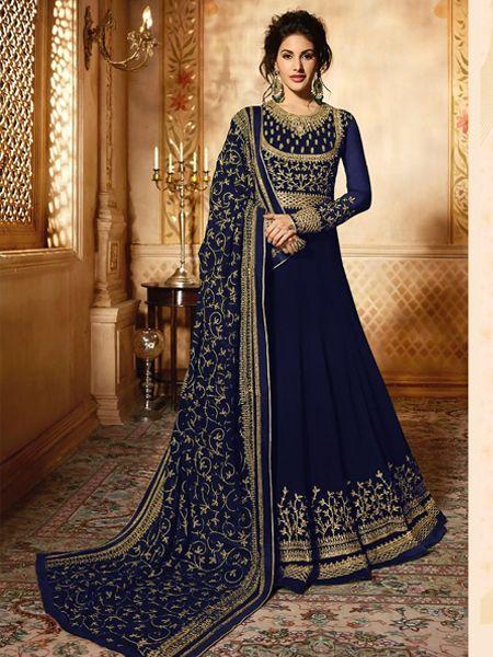 Buy Blue Long Anarkali Gown Online- YOYO Fashion