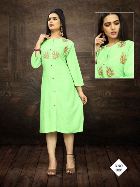 Buy Designer Neon Green Embroidered Kurti Online in India- YOYO Fashion