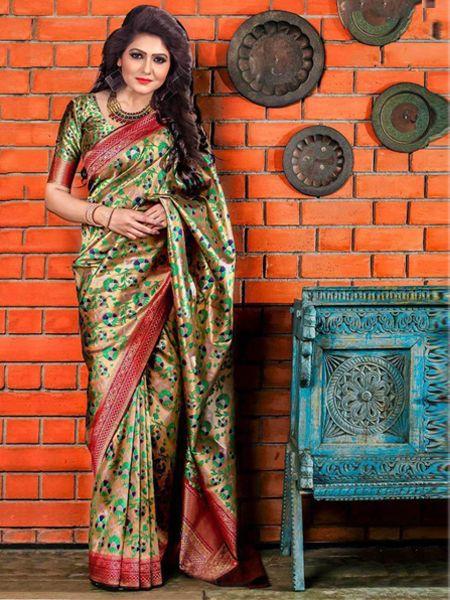 Buy Latest Golden Soft Silk Saree Online in India- YOYO Fashion