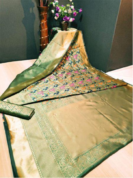 Latest Golden Soft Silk Saree