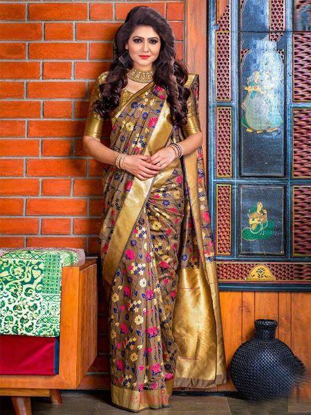 Buy Latest Brown Soft Silk Saree Online in India - YOYO Fashion