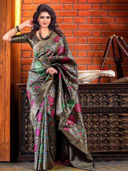Buy Latest Black Soft Silk Saree Online in India- YOYO Fashion