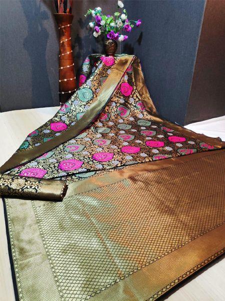 Latest Black Soft Silk Saree
