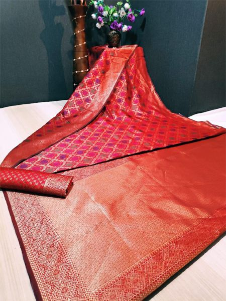 Latest Red Soft Silk Saree