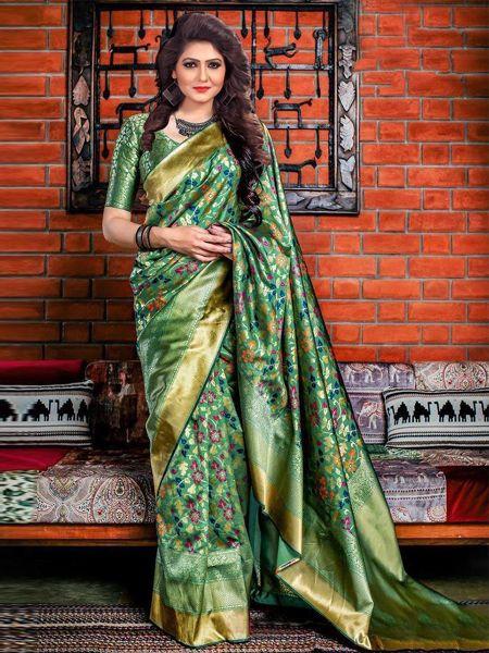 Buy Latest Green Soft Silk Saree Online in India- YOYO Fashion