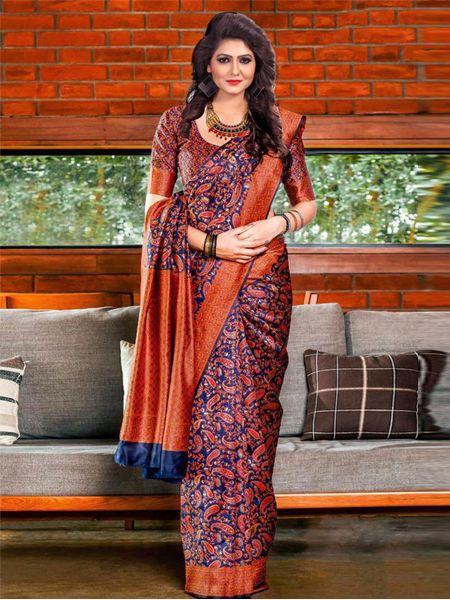 Buy Latest Brick Red Soft Silk Saree Online in India- YOYO Fashion