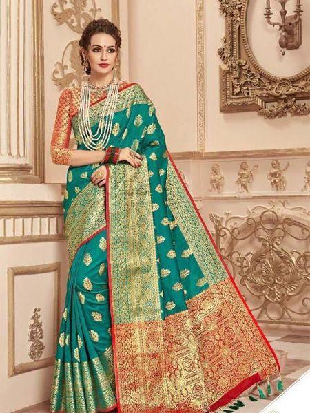 Buy Firoji Banarasi Silk Saree with Heavy Pallu Online in India - YOYO Fashion