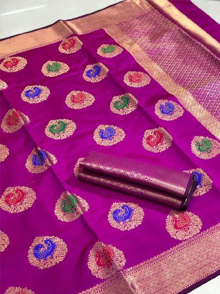 Buy Peacock Motif Pink Silk Saree Online in India- YOYO Fashion