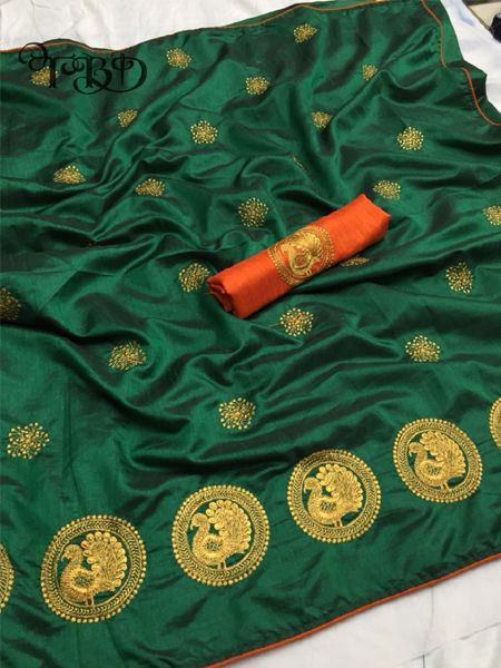 Buy Golden Embellished Green Silk Saree Online in India- YOYO Fashion
