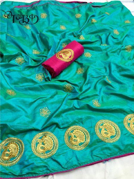 Buy Golden Embellished Firoji Silk Saree Online in India- YOYO Fashion