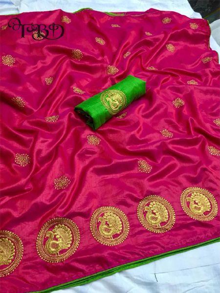 Buy Golden Embellished Pink Silk Saree Online in India- YOYO Fashion