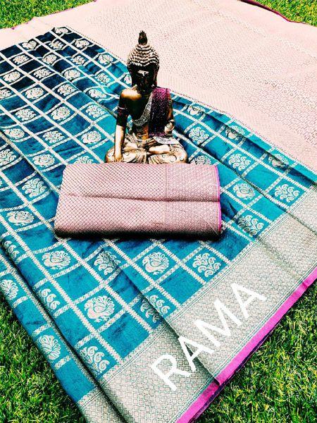 Buy Firoji and Pink Banarasi Silk Saree Online in India - YOYO Fashion