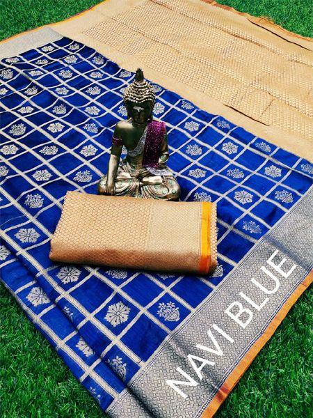 Buy Navy Blue and Golden Banarasi Silk Saree Online in India - YOYO Fashion