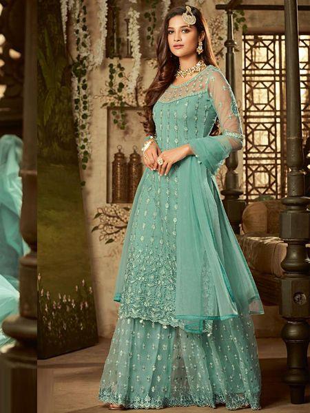 Buy Designer Blue Net Sharara Dress Online in India- YOYO Fashion