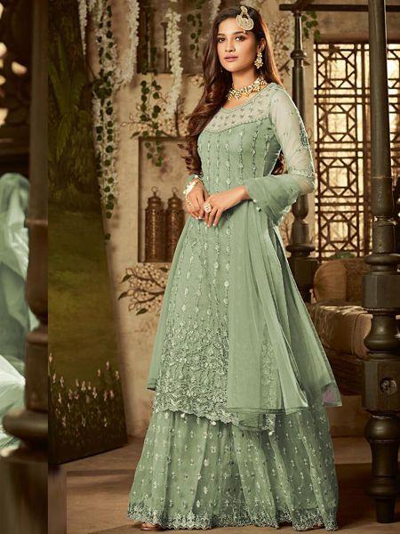 Buy Designer Green Net Sharara Dress Online in India- YOYO Fashion