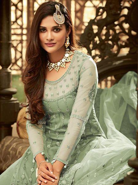 Designer Green Net Sharara Dress