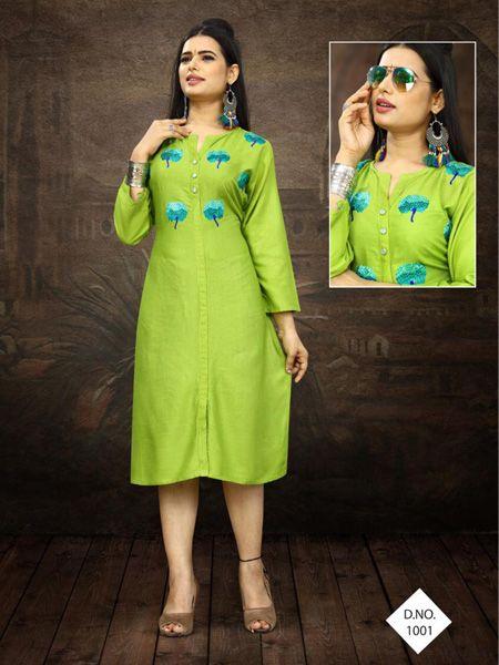 Buy Designer Parrot Green Embroidered Kurti Online in India- YOYO Fashion