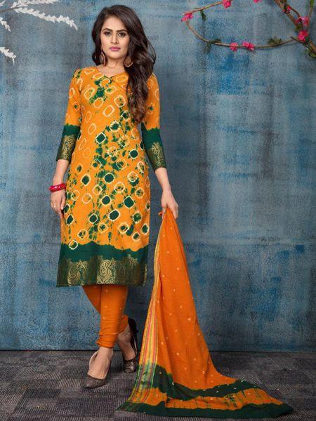 Orange Cotton Salwar Suit