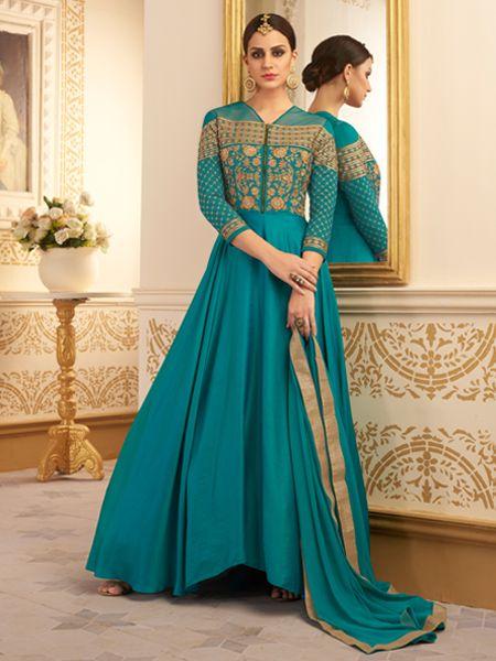 Buy Latest Turquoise Anarkali Dress Online- YOYO Fashion