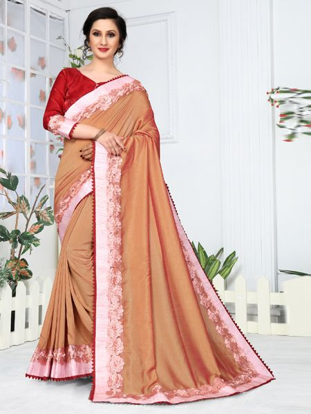 Designer Brown Embroidered Saree