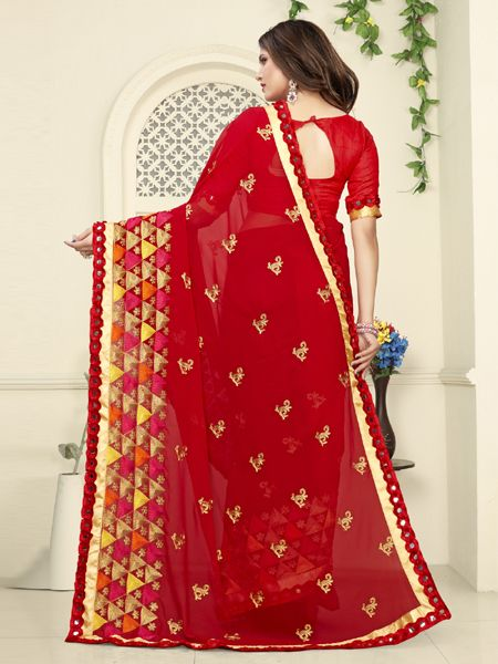 Designer Red Embroidered Saree