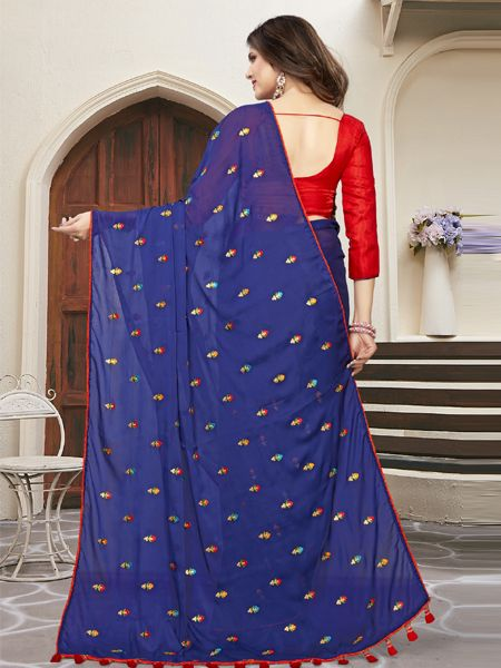 Designer Blue Silk Saree