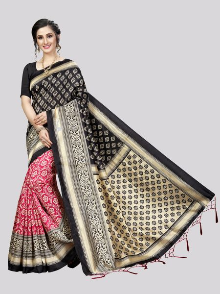 Buy Red and Black Art Silk Saree Online in India - YOYO Fashion