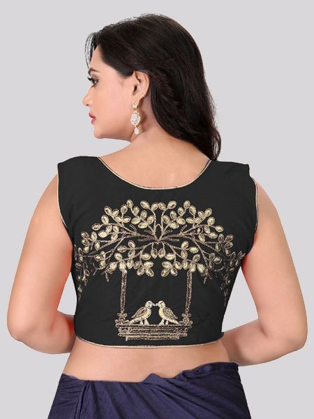 Black Embroidered Front Zipper Silk Blouse