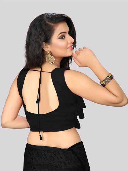 Designer Black Ruffle Saree Blouse