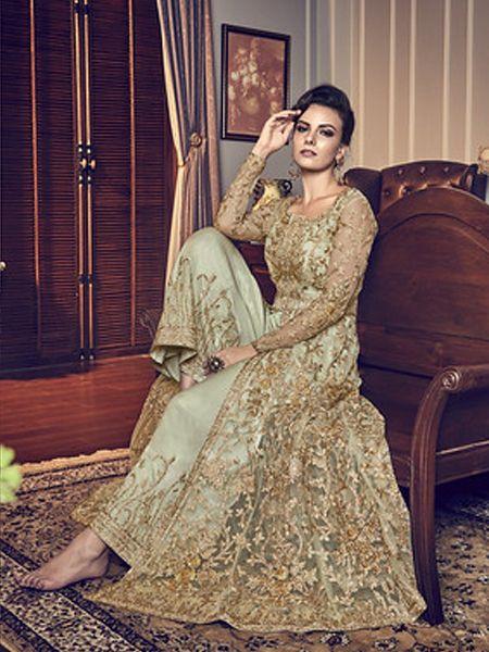 Light Green Net Anarkali Dress