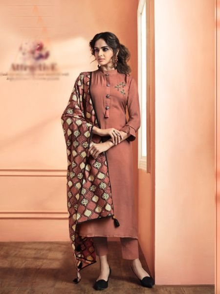 Brown Solid Kurta Set with Dupatta