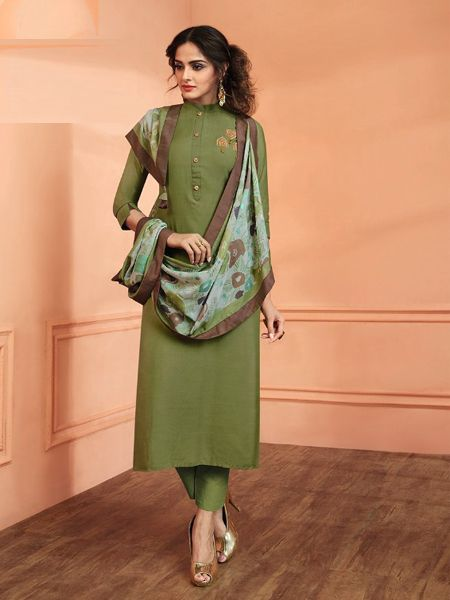 Green Solid Kurta Set with Dupatta
