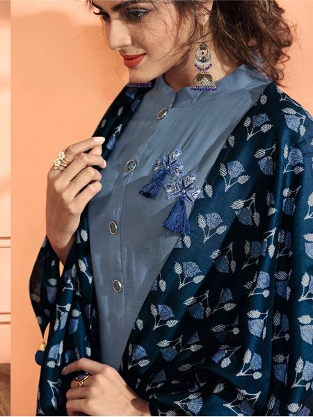 Blue Solid Kurta Set with Dupatta