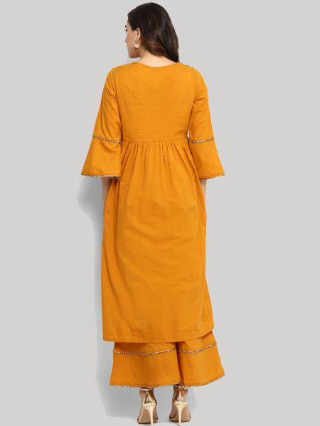 Yellow Embellished Kurta with Palazzos