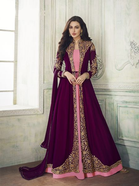 Buy Designer Pink and Purple Anarkali Suit Online- YOYO Fashion