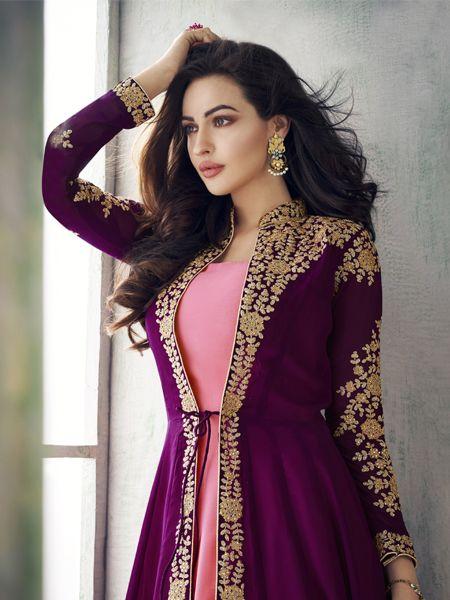 Designer Pink and Purple Anarkali Suit