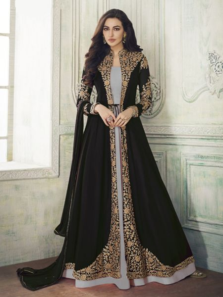 Buy Designer  Black and Grey Anarkali Suit Online- YOYO Fashion