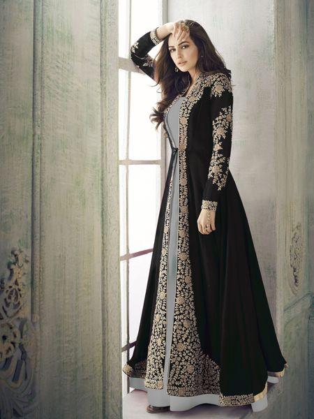 Designe  Black and Grey Anarkali Suit