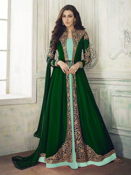Buy Designer Green Anarkali Suit Online- YOYO Fashion