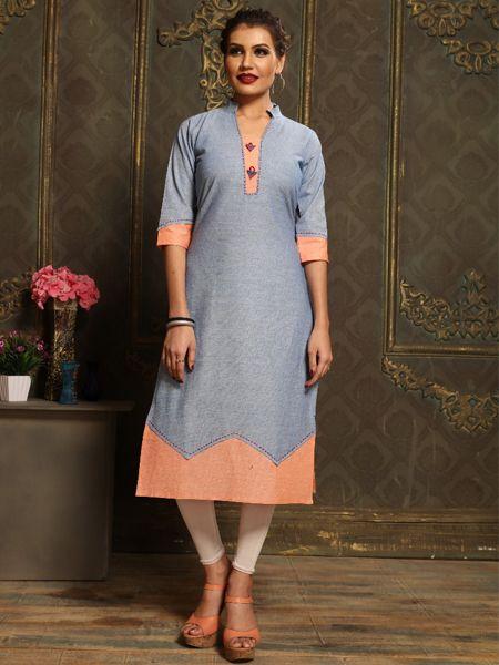 Buy Plain Sky Blue Khadi Kurti Online in India- YOYO Fashion