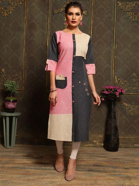Buy Plain Pink Khadi Kurti Online in India- YOYO Fashion