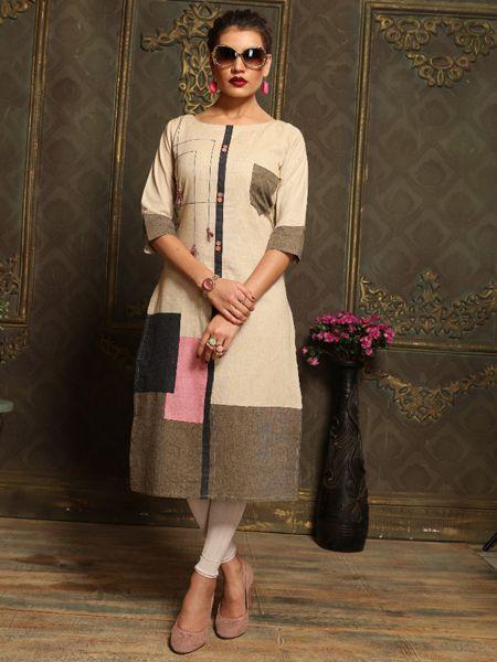 Buy Plain Beige Khadi Kurti Online in India- YOYO Fashion