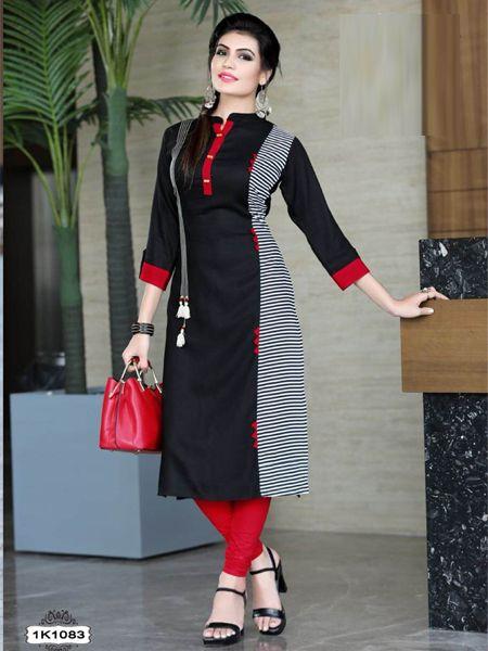 Buy Black and White Rayon Kurti Online in India- YOYO Fashion