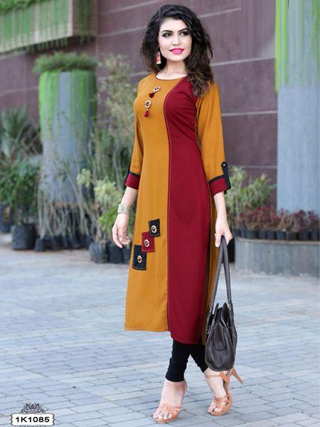 Buy Yellow and Maroon Rayon Kurti Online in India- YOYO Fashion
