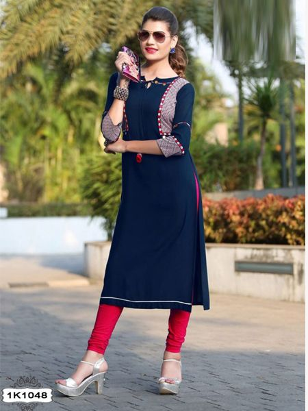 Buy Navy Blue Rayon Kurti Online in India- YOYO Fashion